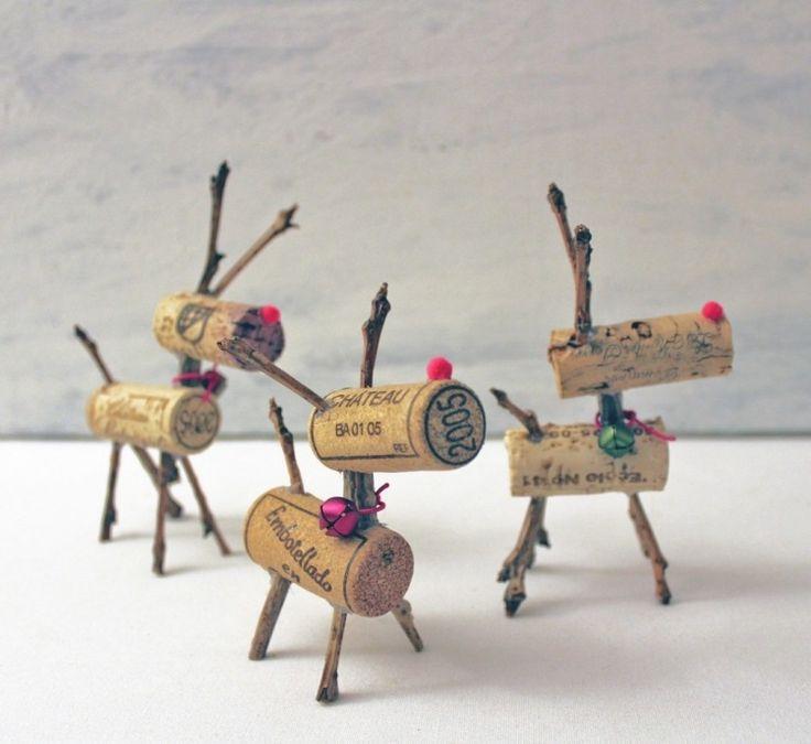 kleine süße Hirschen aus Weinkorken basteln und damit dekorieren