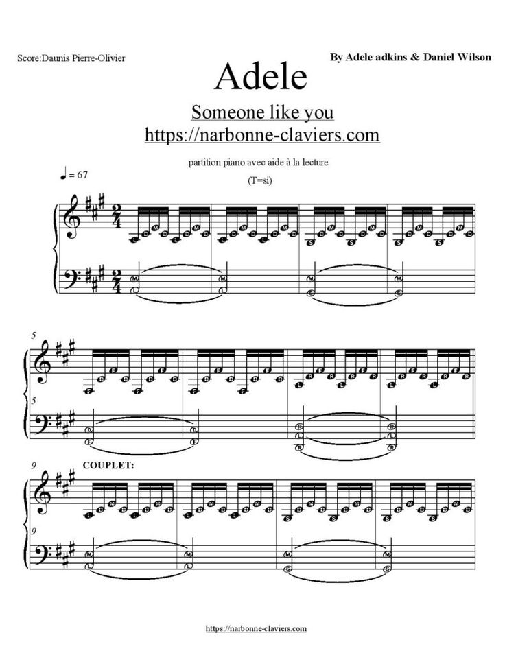 Gratuit : Téléchargez la partition complète de Adele Someone Like You partition piano free piano sheet music  https://narbonne-claviers.com/someone-like-you-partition