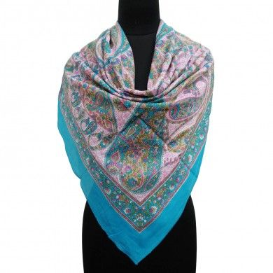 Blue Pure Cotton Paisley Print Scarf Summer Women Wrap Stylish Stole India 40""
