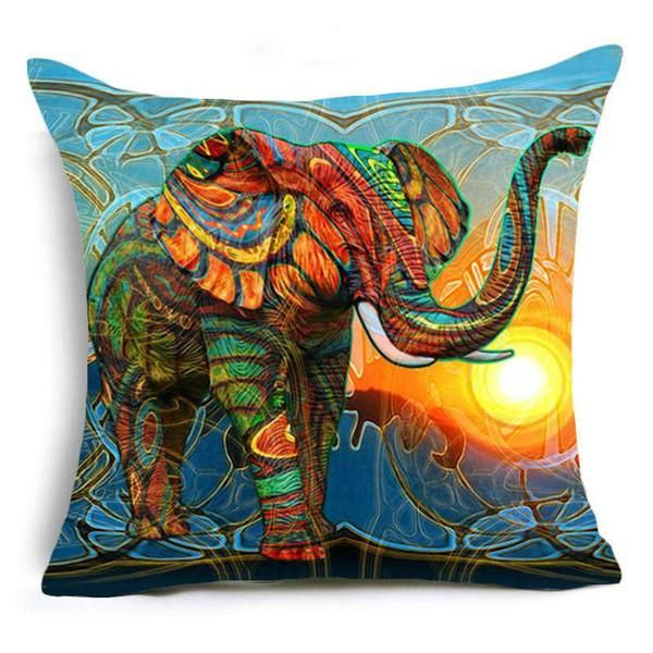 Bohemian Elephant Throw Pillow Cover