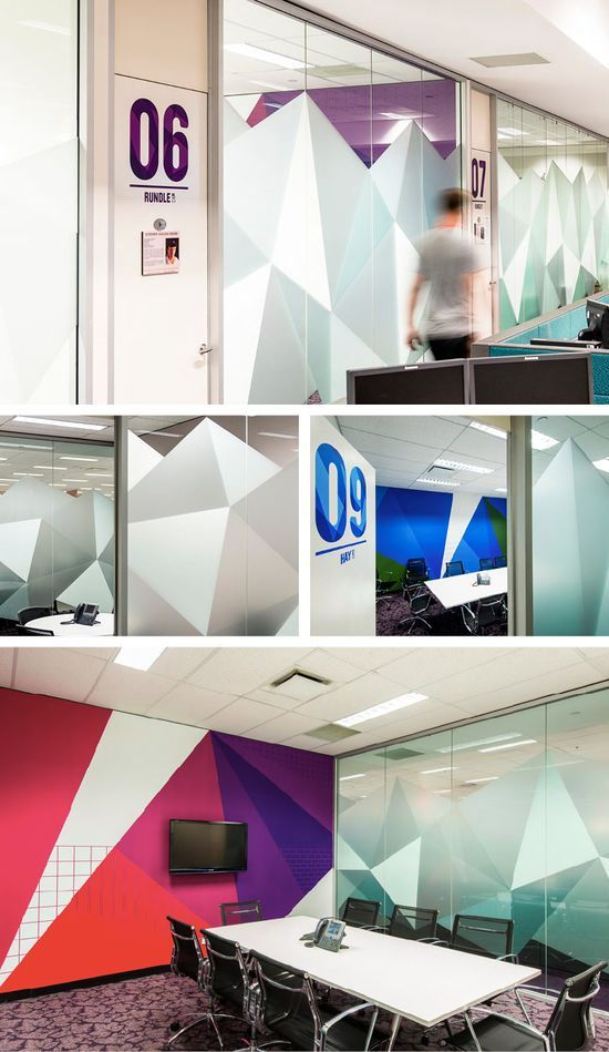 Cool window graphics with different opacity. Super cool office!