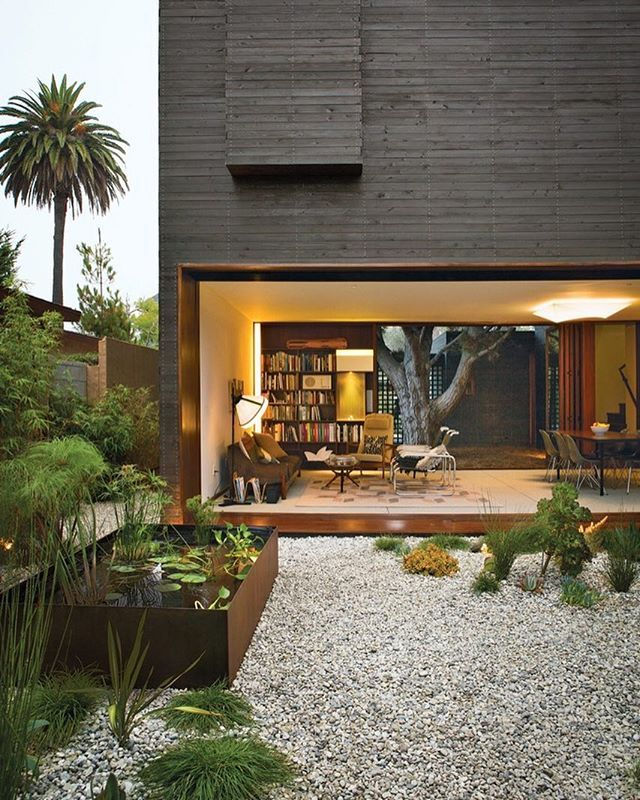Architectural designer Sebastian Mariscal and project manager Jeff Svitak created a house in Venice, California, for Michael and Tamami Sylvester. Known as Dwell Home Venice for its role as an exemplification of modern architecture, the house is an homage to indoor-outdoor living. Photo by Coral von Zumwalt @coralvz / #dwell #indooroutdoor #landscapedesign #architecture