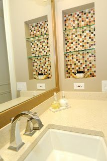 Remove medicine cabinet, add tile and glass shelving