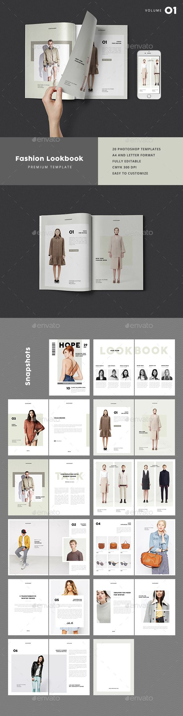 Fashion Lookbook Template PSD A4 and
