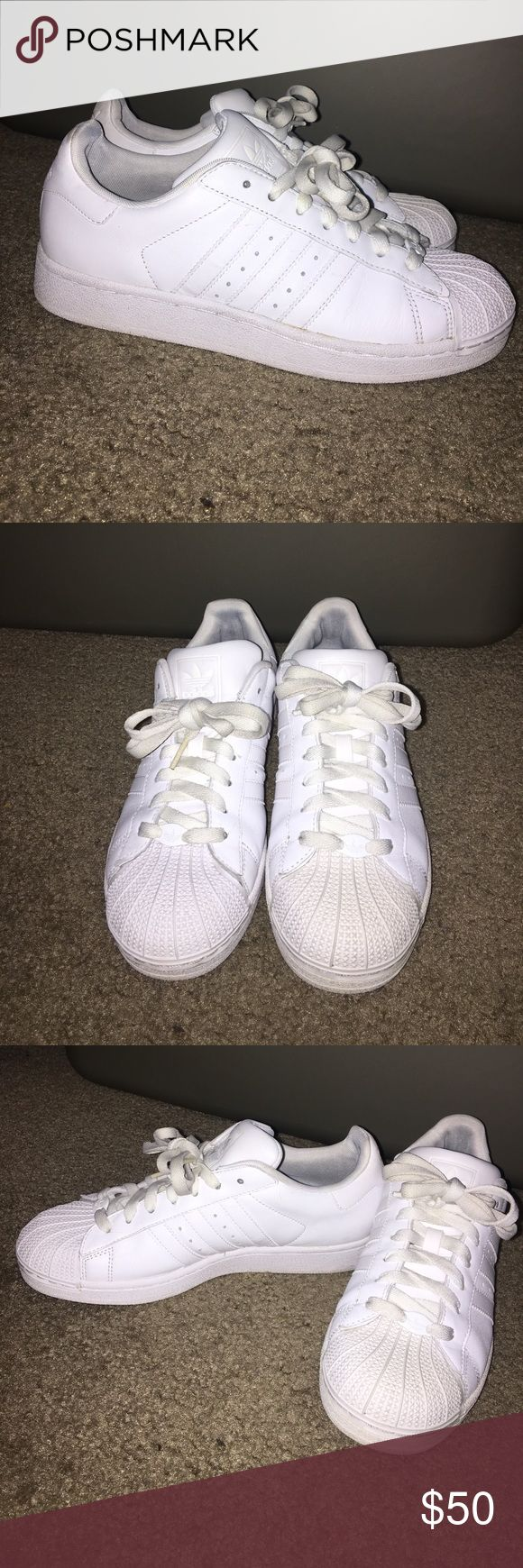 All white class Adidas shell tops White Classic Adidas Shell tops. Worn twice Adidas Shoes Sneakers
