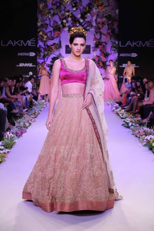 Shyamal  Bhumika Lakme Fashion Week Summer Resort 2014 Indian wedding princess pink lehnga. More here - http://www.indianweddingsite.com/shyamal-bhumika-lakme-fashion-week-summer-resort-2014/