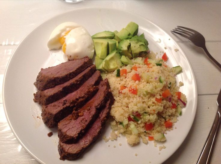 Healthy dish, bulgur salad, red meat, avocado, eggs