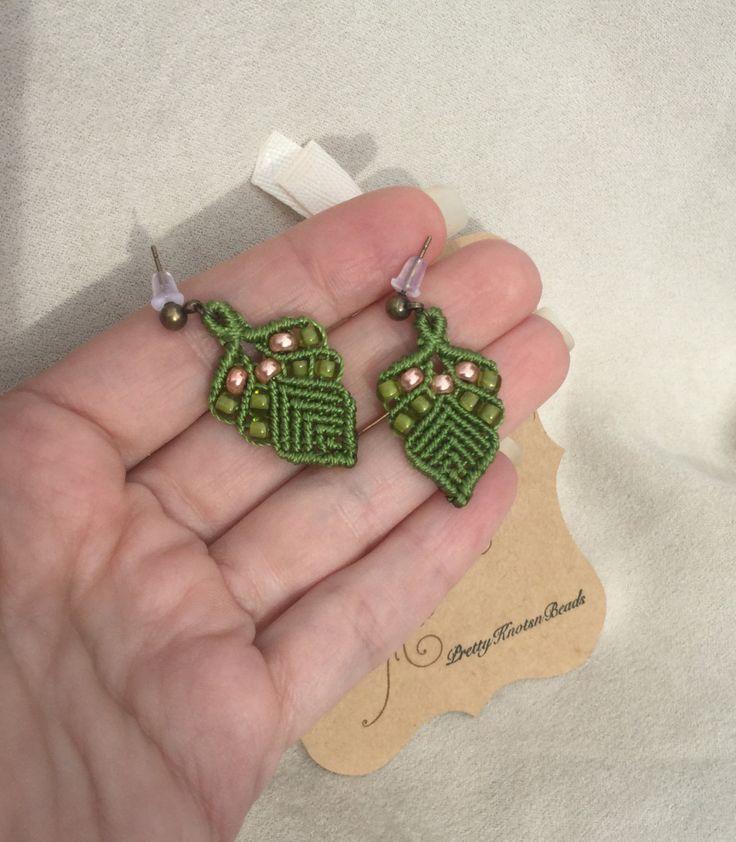 Beaded Green Leaf Macrame Earrings by PrettyKnotsnBeads on Etsy