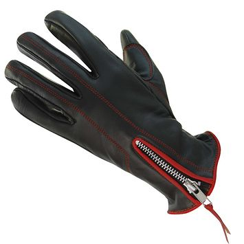 Xelement UK826101 Classic Womens Black/Red Zippered Leather Motorcycle Gloves