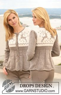 """Knitted DROPS jacket in """"Karisma"""" with puff sleeves and reindeer pattern on yoke. Size S to XXXL. ~ DROPS Design"""