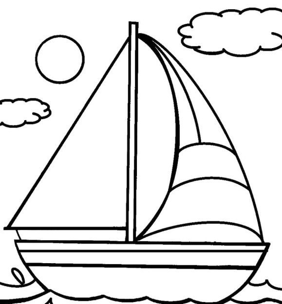 Sailboat Coloring Page Coloring Pages For Kids Boat Drawing Coloring Pages