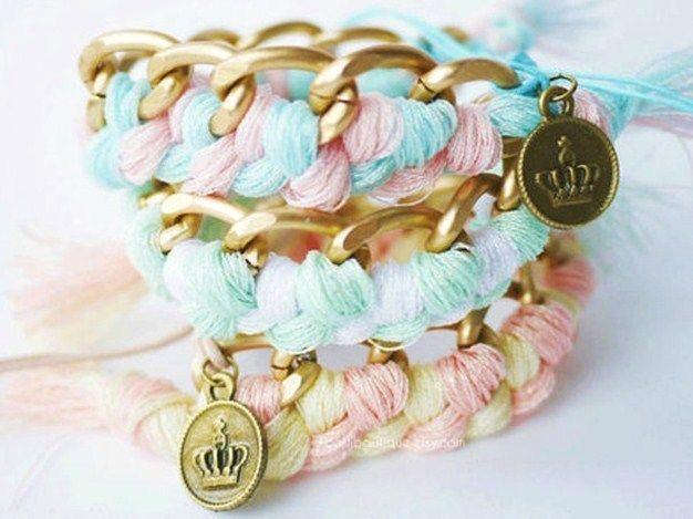 braccialetto con catena fili di cotone