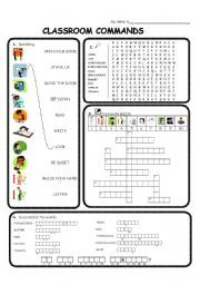 English worksheet: Classroom commands / phrases