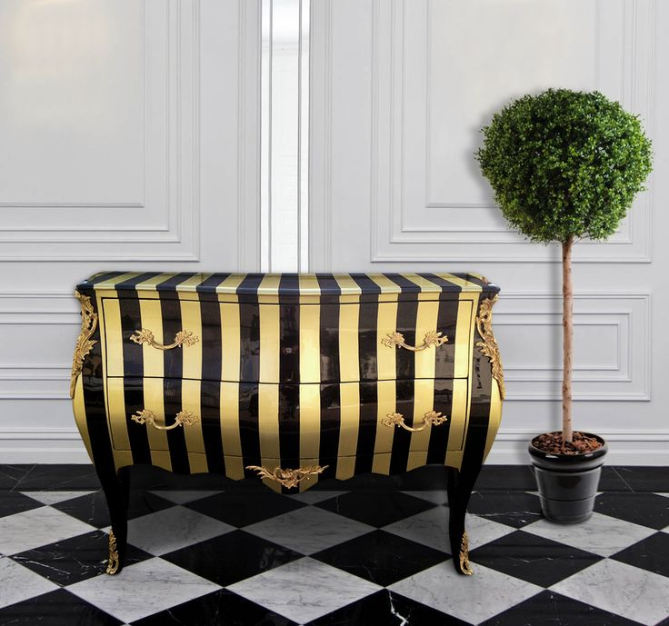 Baroque Commode Louis XV Style Black And Gold Striped With 2 Drawers And  Gilt Bronze Http