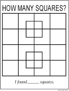Lilliput Station: Geometry Puzzle {free printable} How many squares? The process of solving is what's most important... nice activity to build cooperative learning and problem solving