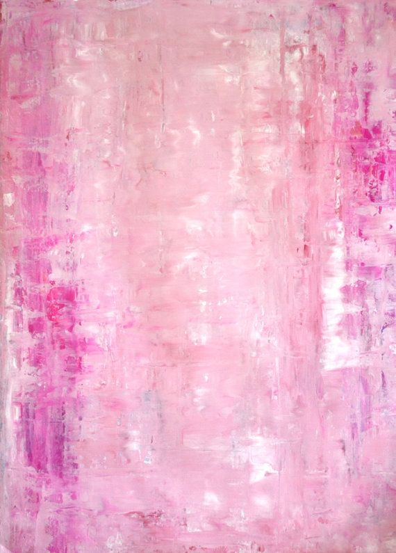 Acrylic Abstract Art Painting Pink and White - Modern, Contemporary, Original 22 x 30