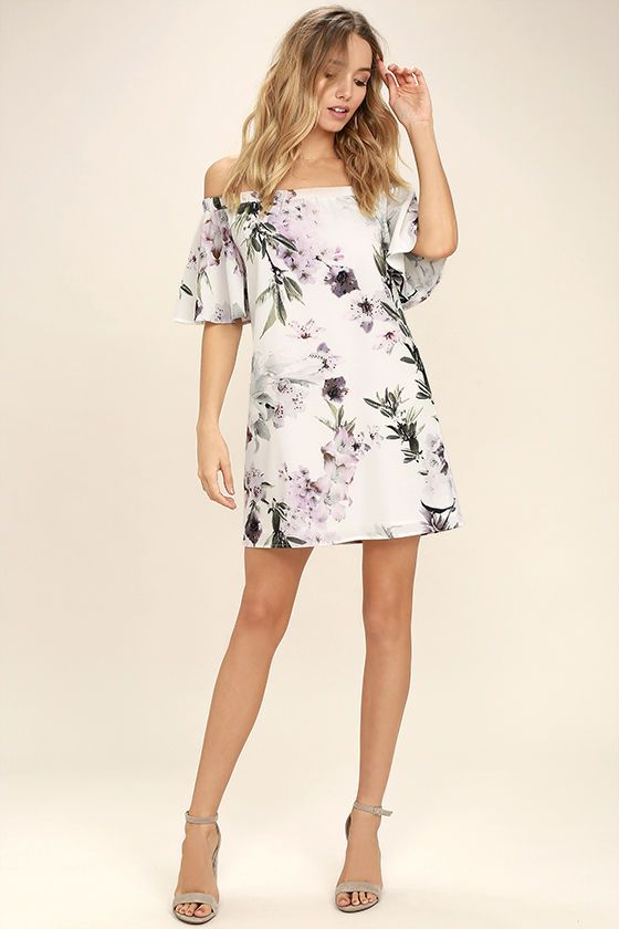 Lovely Dream of You Ivory Floral Print Off the Shoulder Shift Dress