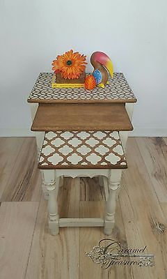 Rustic-Shabby-Chic-Nested-Tables-Rustic-Vintage-Nest-of-Tables-Painted-Tables