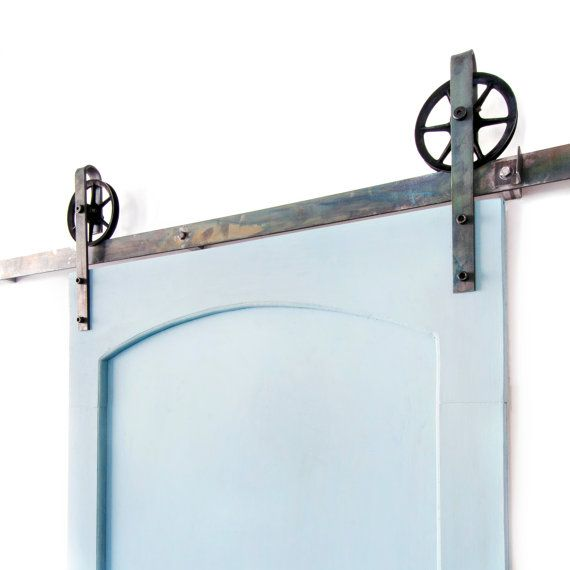 This is a BEAUTIFUL 5-8ft Vintage steel sliding barn door hardware set. Made in the USA from high quality steel. ( Lifetime Warranty ) Includes: