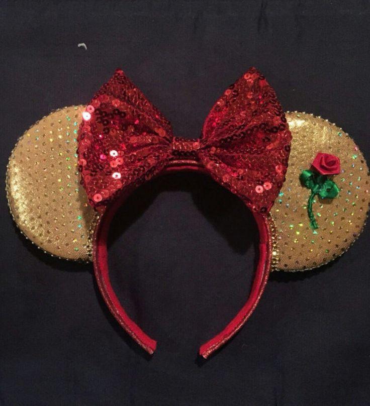 Belle/ Beauty & The Beast - Inspired Disney Minnie Mouse Ears  #Disney #Disneyland #Belle #BeautyAndTheBeast #DisneyHeadband #MouseEars #MinnieMouseEars #MinnieEars #MickeyEars #MickeyMouseEars #Handmade #Diy #DiyMouseEars