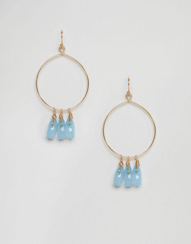 Nylon Gem Drop Hoop Earrings - Gold
