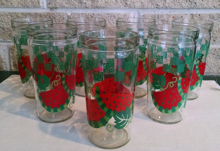Watermelon Beverage Glasses - Set of 7 - Anchor Glass Company - Vintage Jelly Jar Tumblers - 16 Ounce by ClassyVintageGlass on Etsy