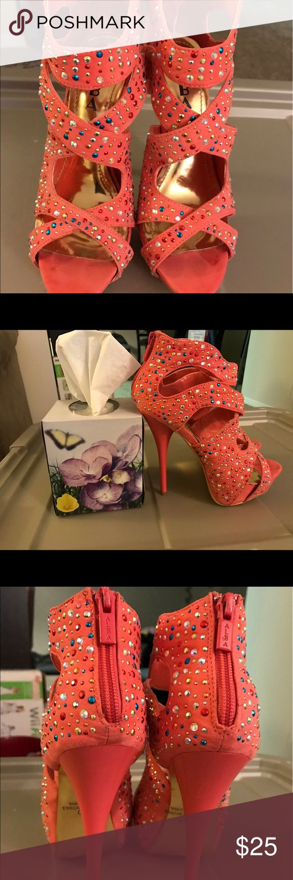 BEAUTIFUL CORAL HEELS WITH COLORFUL RHINESTONES BRAND NEW NO FLAWS WORN TWICE Alba Shoes Heels