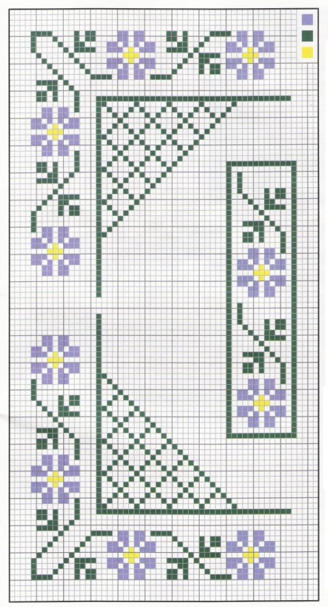 floral border- do just the flowers and leave 1 square space in b/w