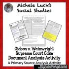 This 1-page handout provides the original Supreme Court ruling as well as the document image for students to analyze with guiding questions for a better understanding of American documents and, in this case, the Gideon v. Wainwright case. Includes a significance wrap-up question in which students utilize all of the information to explain the significance of the case or ruling.  Answer Key is Provided!
