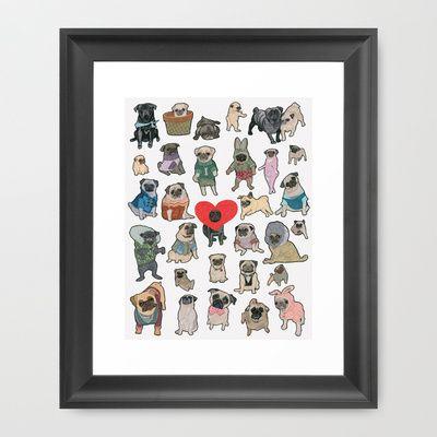 Pugs Framed Art Print