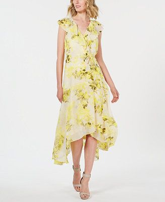 16183bc39d949 Calvin Klein Floral Chiffon High-Low Wrap Maxi Dress in 2019 | Wedding  guest dresses for Spring wedding | Floral chiffon, Maxi wrap dress, Dresses