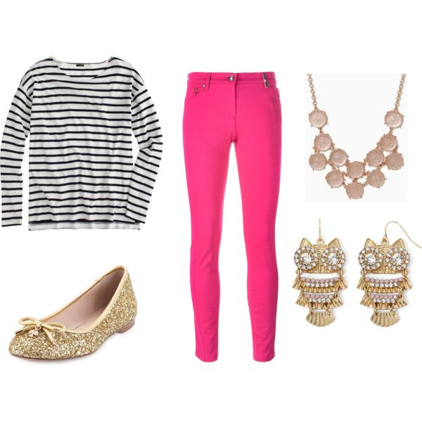 Gold by chronicles-allie on Polyvore featuring J.Crew, Kenzo, Kate Spade, Decree, gold, Pink, stripes and statementnecklace: