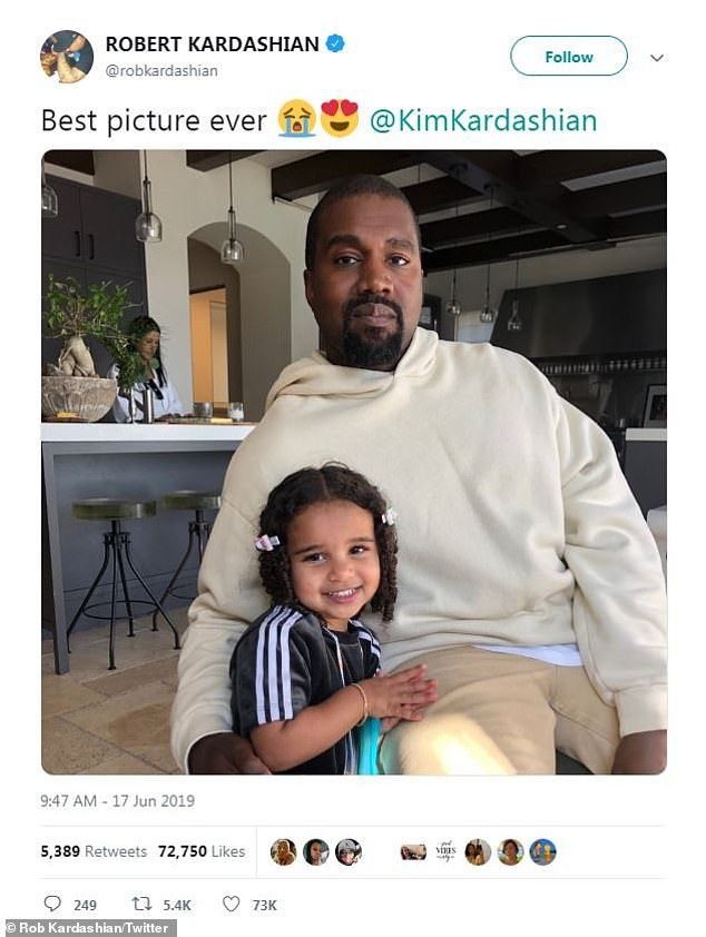Kanye West Snuggles Up Next To Niece Dream Kardashian In Sweet Snap In 2020 Dream Kardashian Kardashian Kanye West