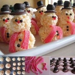 Ideas creativas - DIY lindo muñeco de nieve Rice Krispies