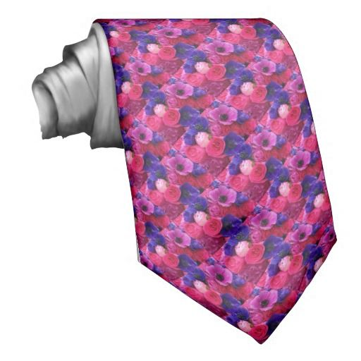 Unique, men's floral tie features a repeating pattern of pink, hot pink, fuchsia, magenta, blue violet, and purple, peonies, roses, English garden roses, and French anemones. This custom tie is perfect for weddings, engagement parties, proms, and more where the event color palette (or your date's dress) incorporates pink, fuchsia, or purple. Order multiples for all the groomsmen, fathers of the bride & groom, and ushers in your wedding party. #pink #fuchsia #purple #tie
