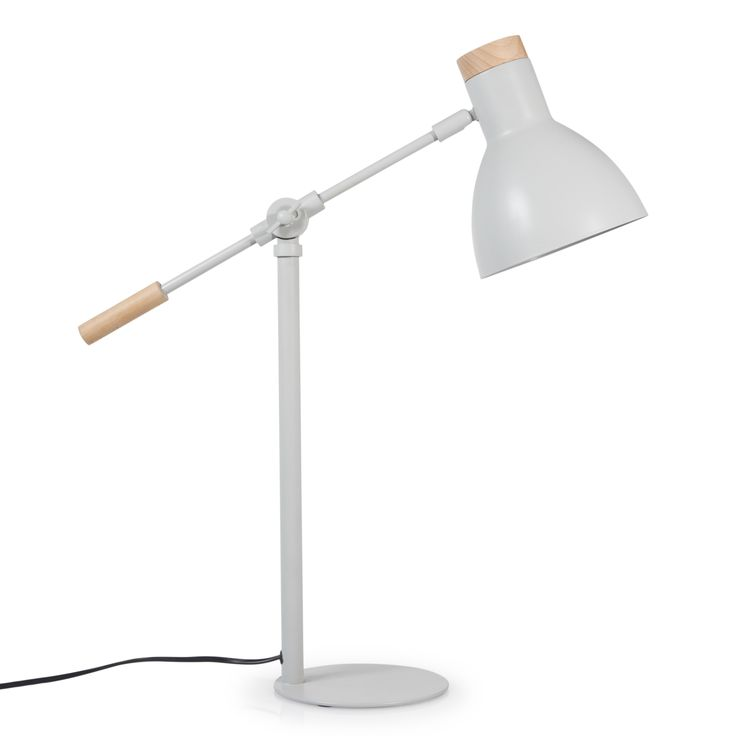Lampe articulée en métal et bois grise H 55 cm VINTAGE
