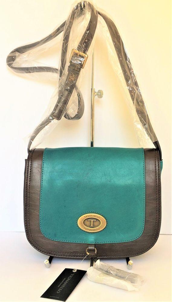 a8cd76267f Tignanello Glazed Vintage Leather Saddle Crossbody Bag Peacock Blue 9