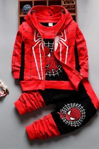 Choice of Boys 3 Piece Spiderman Sets. Hoodie Shirt and Pants.