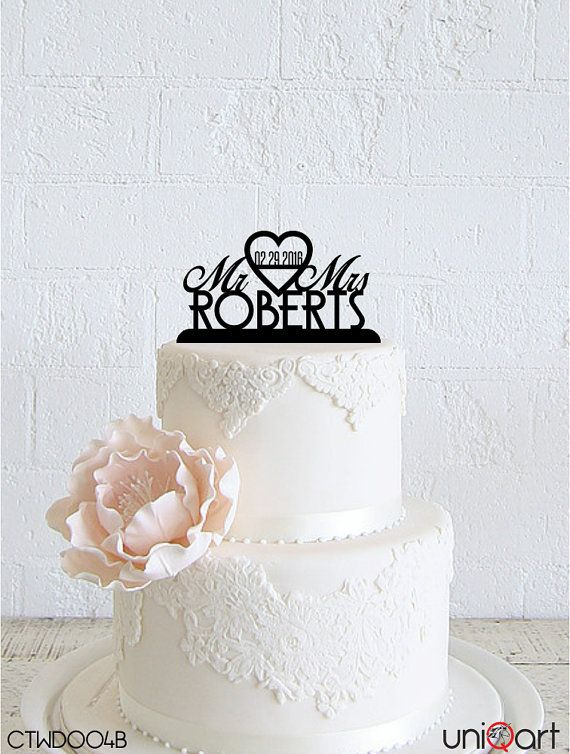 Mr & Mrs Personalized Wedding Cake Topper, Customizable Date, Lastname, Removable Stakes, Free Base for After Event, Gift, Keepsake CTWD004B