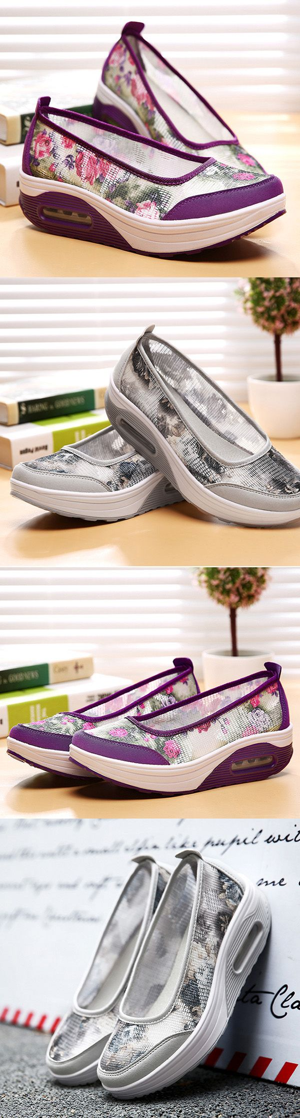 US$21.21  Mesh Breathable Flower Platform Rocker Sole Shoes