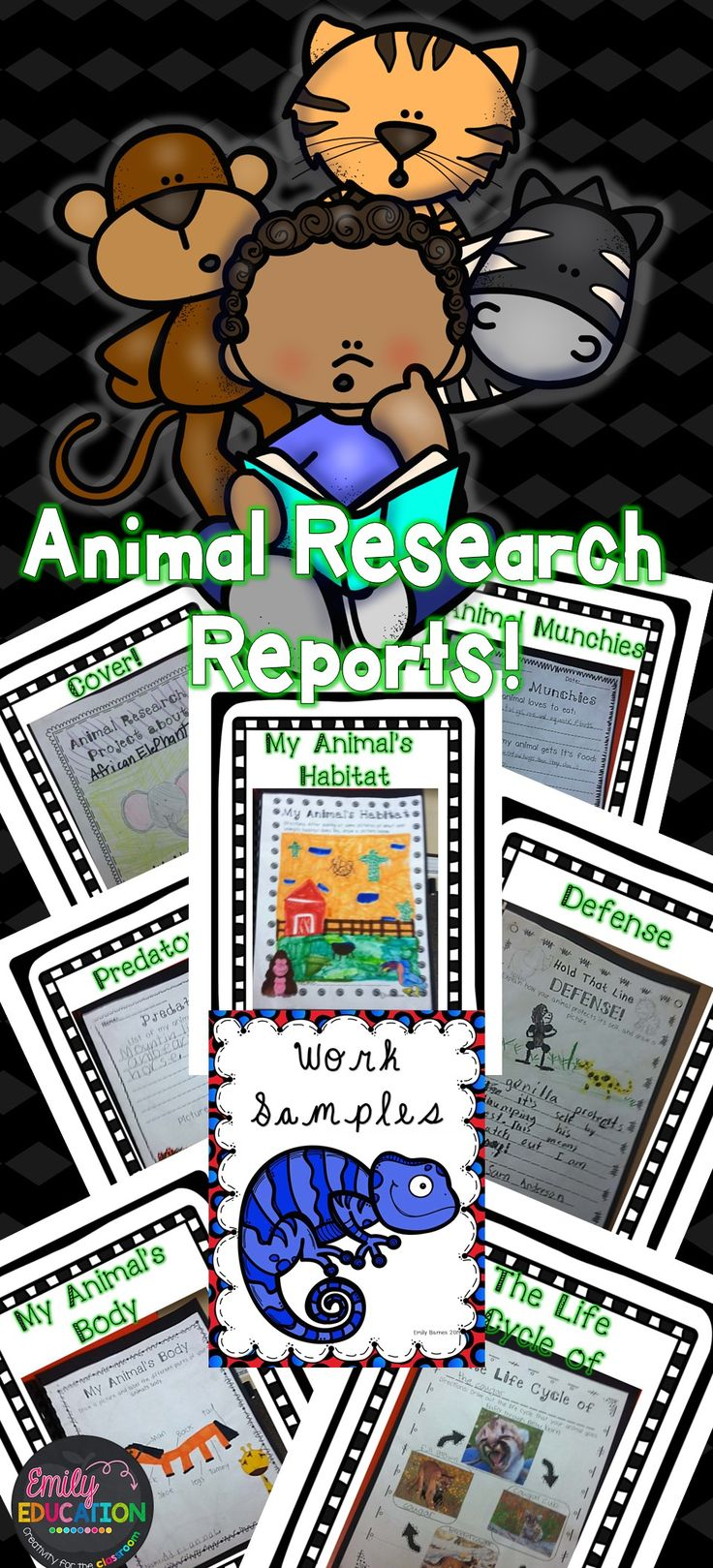 Animal Research Reports/ Book. Everything you need to help guide you along in helping you 1st or 2nd grade students achieve their first Animal Research Report.