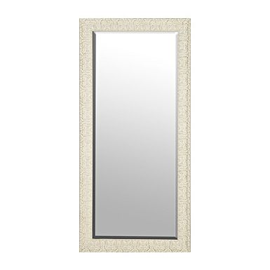 Ornate Distressed Cream Mirror, 30x64 in.
