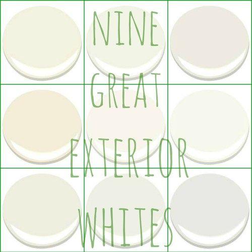NONE GREAT BENJAMIN MOORE EXTERIOR WHITES - ACADIA WHITE, CLOUD WHITE, GLACIER WHITE, LINEN WHITE, MOUNTAIN PEAK WHITE, SIMPLY WHITE, SWISS COFFEE, WHITE DOVE, AND WHITE WISP