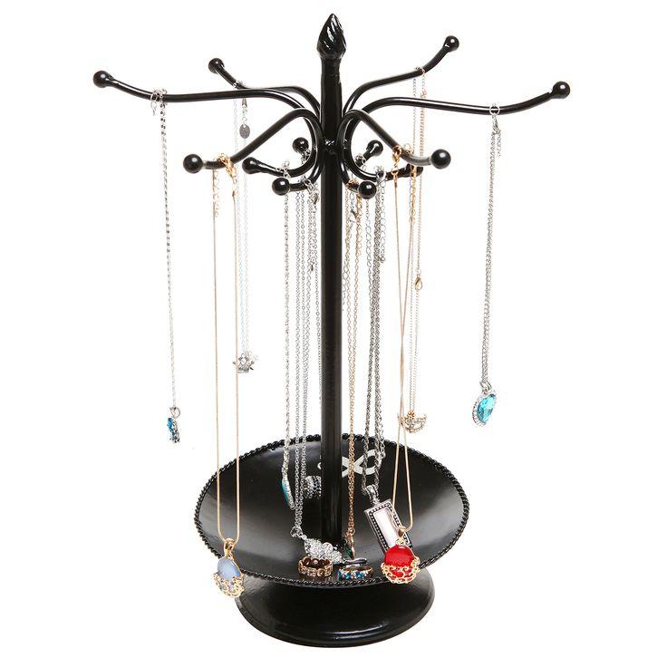 Victorian Style Black Metal Bracelet / Necklace Jewelry Organizer Tree Hooks Rack Stand w/ Ring Dish Tray