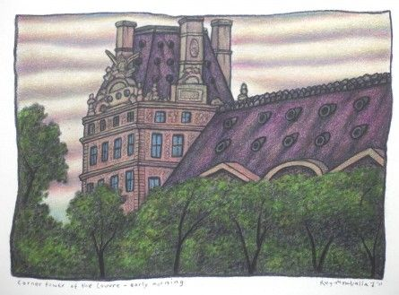 Corner tower of the Louvre by Reg Mombassa  We stayed in a small hotel situated on the left bank of the Seine a couple of blocks from the Louvre, so I did quite a few drawings of the building from across the river and from the interior courtyard.