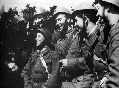 RSI Bersaglieri soldiers and they young volunteer. Italy 1944
