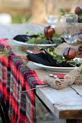 Natural Tablescape: Table Settings, Ideas, Tablecloth, Tablescapes, Plaid, Holidays, Tartan Table