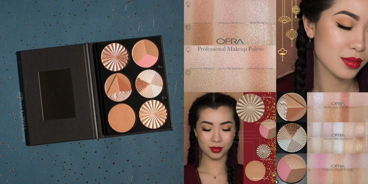 Lunar New Year Makeup ⋆OFRA Professional Makeup Palette – On The Glow with Americano Bronzer, Rodeo Drive Highlighter, Blissful Highlighter, 3D Egyptian Clay Bronzer, Beverly Hills Highlighter, California Dream Triangle⋆ REVIEW & SWATCHES