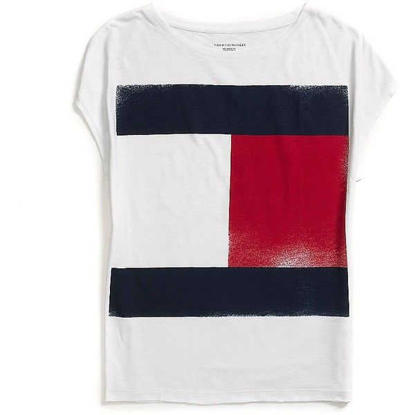 Tommy Hilfiger Flag Logo Tee ($33) ❤ liked on Polyvore featuring tops, t-shirts, tommy hilfiger t shirts, white t shirt, cotton tee, white cotton tee and white top