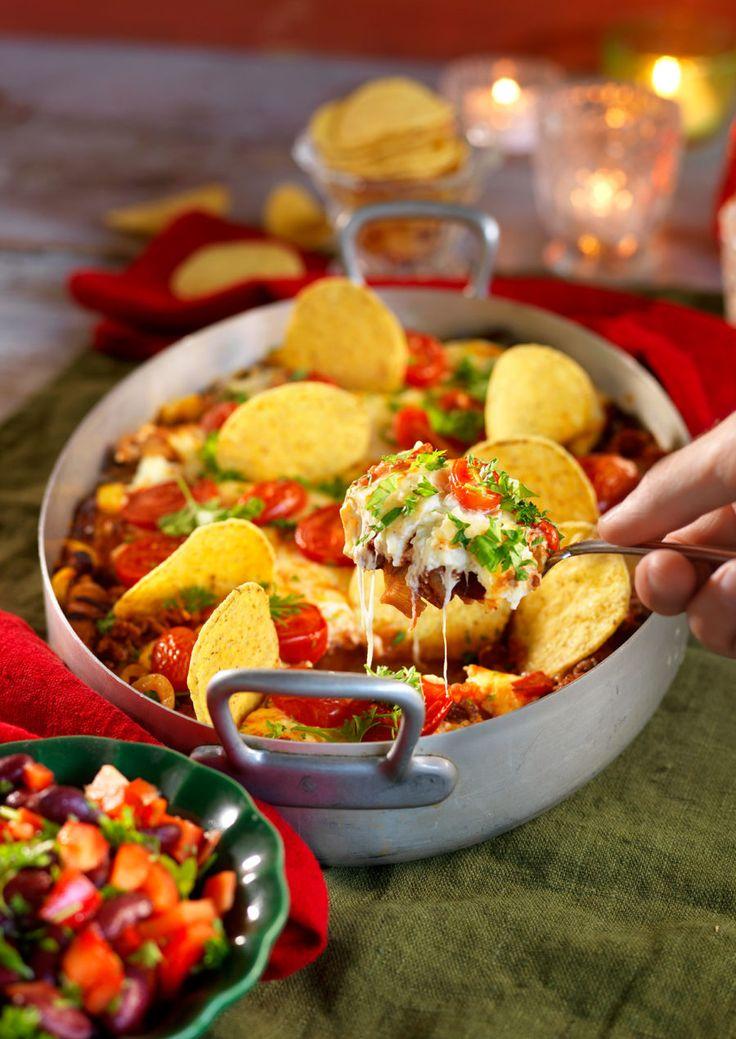 Festlig tacogratäng med bönsalsa